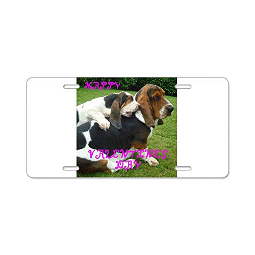 AhuiA-Basset Hound Valentines Custom Personalized Aluminum Metal Novelty License Plate Cover Front Auto Car Accessories Vanity Tag- 6x12 Inches