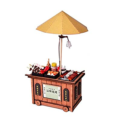 Wooden Adult Educational Toys BBQ Cart Barbecue Trolley Lighting House Wooden Model Kits DIY Model Christmas Gift kids toys Early Education Wood Toys (Color : A): Everything Else