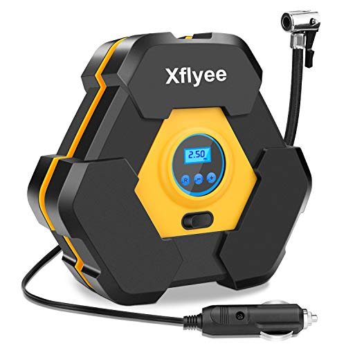 - Xflyee Portable Air Compressor Pump, Auto Digital Tire Inflator, 12V 150 PSI Tire Pump with LED Light for Cars/Motorcycle/Bicycle Tires and Other Inflatables