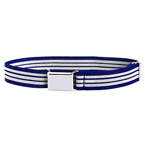 Buyless Fashion Kids and Baby Adjustable and Elastic Dress Stretch Belt with Silver Buckle - 5101-Royal-Blue-White-Striped