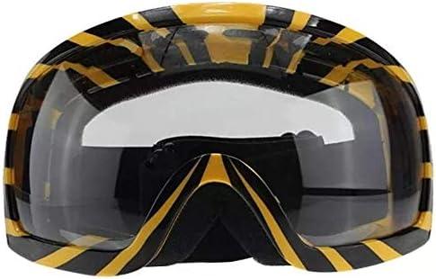 スキーゴーグル スノーゴーグル 視界広く オートバイのゴーグルイエローメガネのストライプ透明レンズオートバイアクセサリーツールアセンブリ 防塵 防雪 軽量 耐衝撃 男女兼用