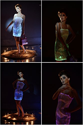 Glow In The Dark Dresses Light up Prom Dresses Fiber Optic Ball Dresses (L) by Fiber Optic Fabric Clothing (Image #1)