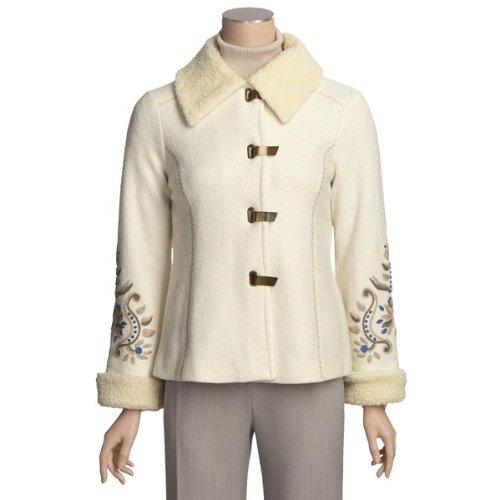 Icelandic Design Wmns Medium Bloiled Wool Off White Jacket W/emboidery