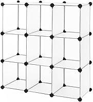 Songmics Regalsystem Cube Aufbewahrung Badregale Schuhregal Sideboard Kommode Kleiderschrank Aufbewahrungsbox Weiß 108 x 108 x 36 cm LPC115