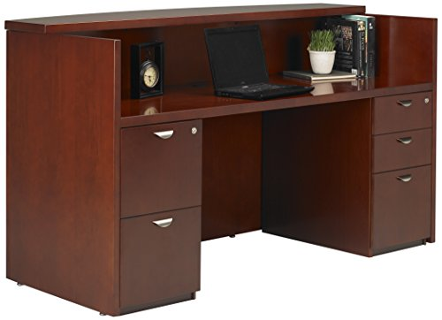 Mayline MRSBFMC Mira Series Reception Station with Box/Box/File & File/File, Medium Cherry Veneer - Mira Wood Box