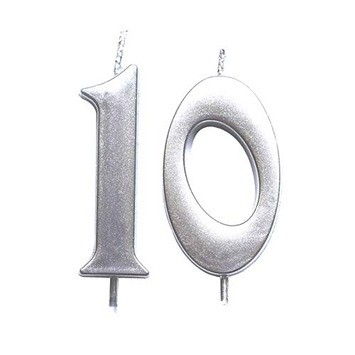 MAGJUCHE Silver 10th Birthday Numeral Candle, Number 10 Cake Topper Candles Party Decoration for Girl Or Boy (Tenth Birthday Candles)