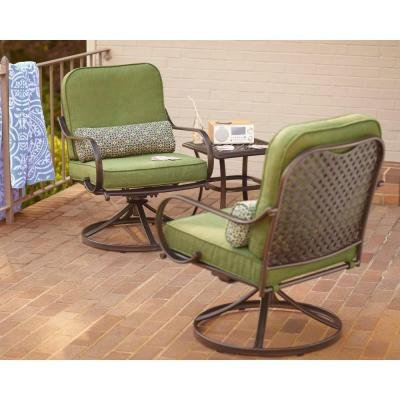 PATIO FURNITURE OUTDOOR LAWN U0026 GARDEN HAMPTON BAY FALL RIVER WITH MOSS  CUSHIONS 3 PC