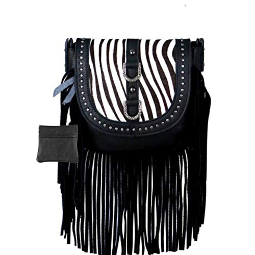 (Handcrafted Leather 4 in 1 Bundle Clutch Crossbody Biker Bag w Fringe & Coin Key Fob (Black Zebra with Hair &)