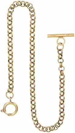 Pocket Watch Albert Vest Chain with T Bar - Pure Copper ManChDa Watch Chain Link 14 inch Golden Gorgeous