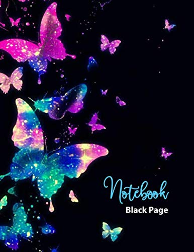 NOTEBOOK BLACK PAGE: Black Paper Journal with Lined Pages: Using Fluorescent and Metallic Gel Pens. 110 pages of 8.5