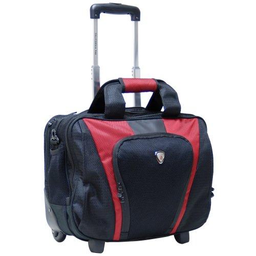 CALPAK Persuader2 Deep Red 17-inch Deluxe Rolling Laptop Soft Briefcase (Calpak Briefcase)