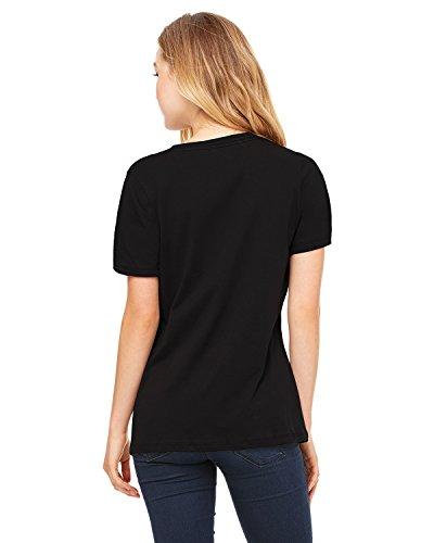 (Bella + Canvas Ladies Relaxed Jersey Short-Sleeve V-Neck T-Shirt - Black - L - (Style # 6405 - Original Label))