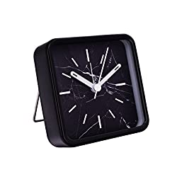 Slash Modern Small Portable Marble Pattern Metal Case Quartz Analog Desk Clock for Sitting Room, Bedroom, Office, Battery Operated, Loud Alarm, Quiet, Non-ticking Sweep Second Hand (Black Marble)