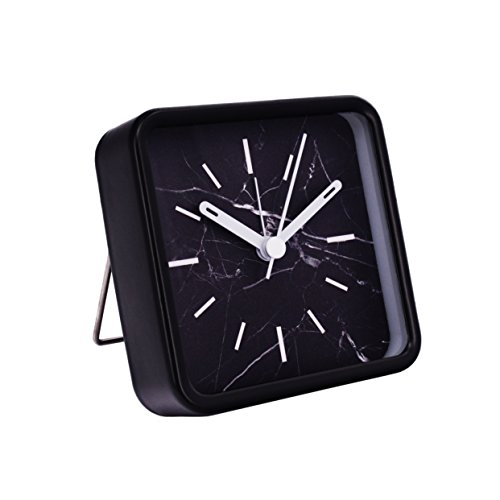 Desk Metal Quartz Clock (Slash Modern Small Portable Marble Pattern Metal Case Quartz Analog Desk Clock for Sitting Room, Bedroom, Office, Battery Operated, Loud Alarm, Quiet, Non-ticking Sweep Second Hand (Black Marble))