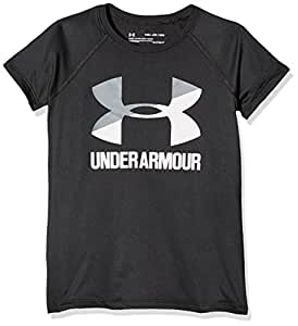 Under Armour Girls' Solid Big Logo Short Sleeve T-Shirt, Black/Steel, Youth X-Small