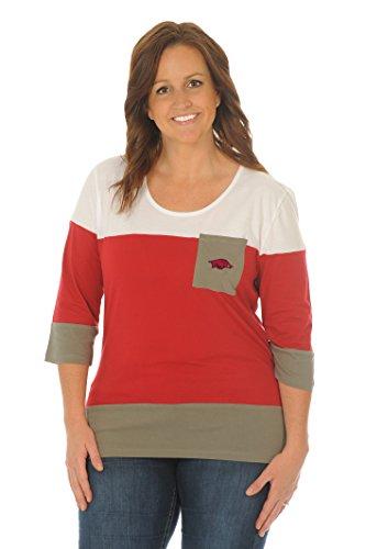 UG Apparel NCAA Arkansas Razorbacks Women's Plus Size Colorblock Top, Crimson/Grey/White, 1X
