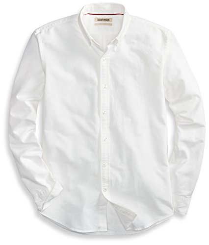 Cotton Long Sleeve Oxford Shirt (Goodthreads Men's Standard-Fit Long-Sleeve Solid Oxford Shirt, White, X-Large)