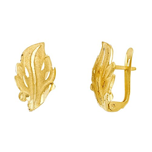 14k Yellow Gold Leaf Huggie Earrings U Shape Clip On Closure Diamond Cut Design Polished Solid 15 mm ()