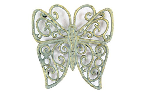 "Antique Seaworn Bronze Cast Iron Butterfly Trivet 8"" - Cast Iron Decor - Decpra"