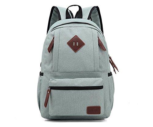 11a2c0de5aae XibeiTrade Lightweight Canvas Leather Travel Backpack Rucksack School Bag  Laptop Backpacks Daypack (Light Green)