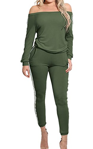 Army Outfit (ZYFGfree Womens Sexy Off Shoulder Blouse Tops Pants 2 Piece Outfits Jumpsuit Army Green US L)