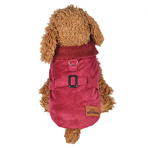 Pet Clothes Duseedik Puppy Dog Cat Padded Thickening Imitation Deer Leather Jacket -