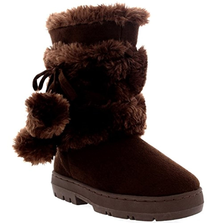 Kids Girls Pom Pom Fur Trim Winter Suede Mid Calf Snow Warm Winter Boots - 1 - LTA34 EA0453