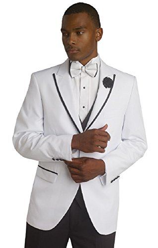 E. J. Designer White/Black Tuxedo Mens Suit TUX114 (42 R) by E. J. Samuel