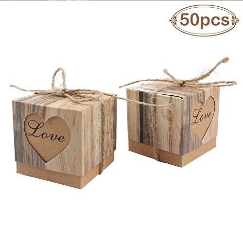AerWo 50pcs Candy Favor Boxes Vintage Kraft Bonbonniere