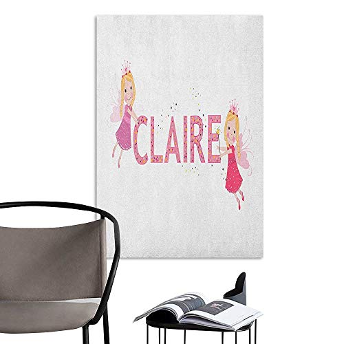 3D Murals Stickers Wall Decals Claire Pastel Toned Colorful Arrangement of Fairy Tale Elements with Magic Wands and Wings Multicolor Kitchen Room Wall W16 x H20