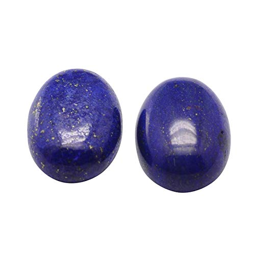(B.D craft 50pcs 18mm Oval Natural Lapis Lazuli Cabochons Dome Flatback Dyed Undrilled Gemstone for Sticking on Another Jewelry )