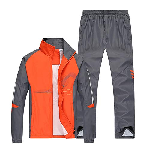 A-LING Men's Athletic Full Zip Jogger Sweat Suit Casual Running Tracksuit Outfit (Orange-Medium(Label 2XL))