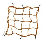 "BININBOX Cargo Net With 6 Durable Hooks Nylon 11.81x11.81"" Large Stretches Adjustable Mesh Elastic Lightweight Bungee Cord 16 Grids (Yellow)"