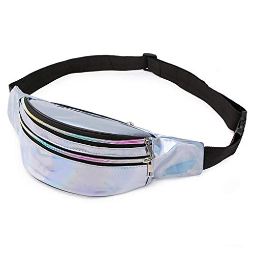 Dainzuy Waist Bags for Women, Students Outdoor Sports Fashion Zipper Messenger Bag Chest Bag Crossbody Wallet Purse Silver
