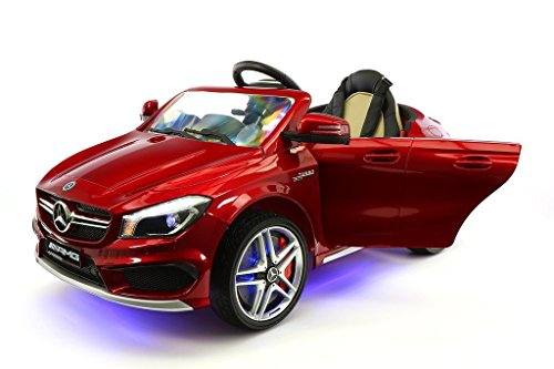 2018 LICENSED MERCEDES CLA45 KIDS ELECTRIC RIDE-ON CAR TOY, LEATHER, MP3 USB PLAYER, 12V BATTERY LED WHEELS, LED BODY KIT, REMOVABLE BABY TRAY TABLE WITH PARENTAL REMOTE | CHERRY RED METALLIC (Licensed Car)