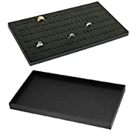 888 Display USA - 1 Set of Black/Black 72 Slot Jewelry Travel Ring Insert Display Pad with Stackable Tray