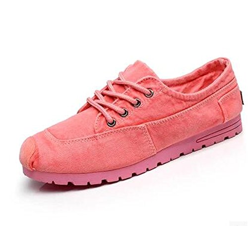 New-Loft Drop Shipping Old Beijing Style Cotton-Made Canvas Shoes Flat Casual Lover Shoes Women Casual Shoes,Pink,6.5