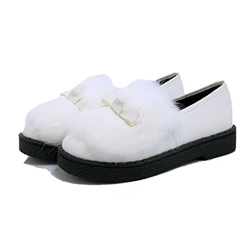 Frosted Heels Feste Weiß Damen Absatzschuhe Toe mit Round VogueZone009 Low Closed Pumps Pf0qxYw5