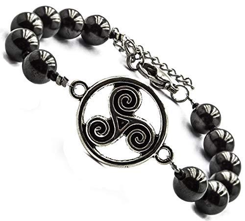 - Shungite Bracelet with Vintage Connectors (Celtic Double Spirals 6 - 6.75