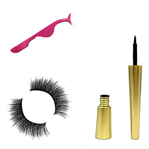 SUSSMAI Natural Magnetic Fast Drying Lasting Liquid Eyeliner Magnetic False Eyelash Clip - A Pair of Magnetic False Eyelashes + Powder Eyelash Curler + Magnetic Eyeliner