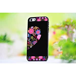 MaxSale Colorful Flowers Half Heart Plastic Protective Case For iPhone 5