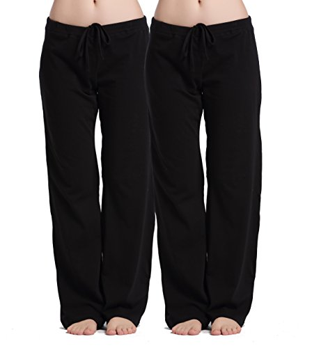 (CYZ Women's Stretch Cotton Knit Pajama Pants-Black2PK-XL)