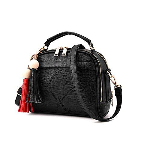 Wewod mujeres chica coreano cuero de la PU mini Bolsa De Hombro taleguilla del bolso totalizador hobo mensajero bolsa 23 x 18 x 12 cm (L*H*W) Negro