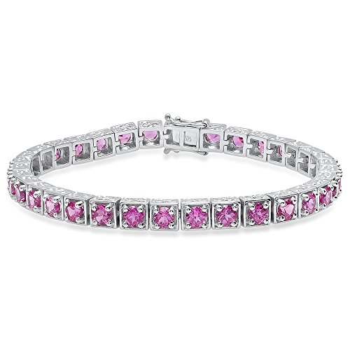 - Dazzlingrock Collection 4 MM Each Round Lab Created Pink Sapphire Ladies Tennis Bracelet, Sterling Silver