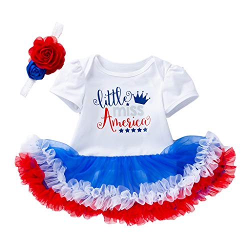 (landscap American Patriot Clothes Toddler Baby 4th of July Short Sleeve Letter Stars Dress+Headbands Set Outfit(White,73))