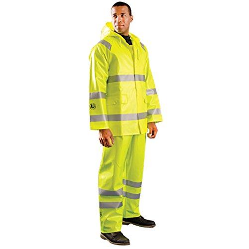 Occunomix Rainwear - OccuNomix 2X Hi-Viz Yellow Premium PVC Coated Modacrylic And Cotton Jersey Flame Resistant Rain Jacket With Storm Flap Over Non-Sparking Zipper And Snap Button Closure, 3M Scotchlite Reflective Stripe