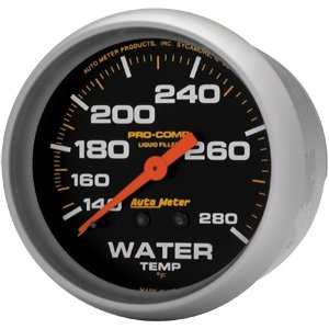 Autometer 5431 2-5/8'' WATER TEMP, 140- 280`F, 6' TUBING, MECH by AUTO METER