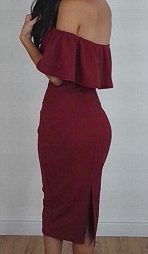 Domple Des Femmes De L'épaule De Vin Soir Volants Fente Bodycon Partie Midi Robe Rouge