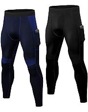 YUSHOW 2 paquetes de leggings de compresión para hombre, para correr, deportes, para gimnasio, entrenamiento