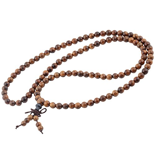 Nupuyai Natural Wood Wrap Bracelet for Women and Men, 108 Prayer Mala Beads Tibetan Necklace for Unisex Elastic Meditation Yoga Jewelry